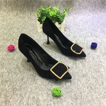 Love to shoot 18 autumn fashion pointed buckle diamond fine High-Heeled Shoes Womens comfortable wild suede shallow mouth work shoes