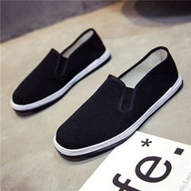 7 9 Old Beijing cloth shoes men breathable comfortable black cloth shoes imitation Melaleuca bottom work social wear shoes