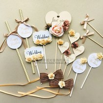 Champagne theme dessert table decoration custom wedding birthday party cake card plug-in accessories pudding bottle stickers