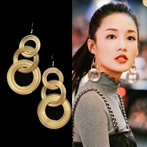 Exaggerated long section circle earrings female fashion nightclub sexy retro gold tassel earrings hypoallergenic Korean