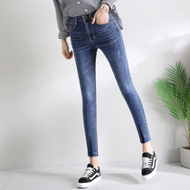 2018 Spring Jeans Female hundred new stretch shear feet thin nine small feet pencil pants