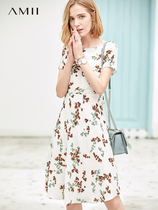Amii minimalist retro temperament chiffon dress female 2019 summer new word collar waist was thin floral skirt
