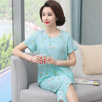 Mom pajamas summer middle-aged man-made cotton short-sleeved suit mother large size thin cotton silk can wear home service