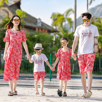 Summer new style male short-sleeved vacation beach suit a three-four mother and daughter seaside red dress