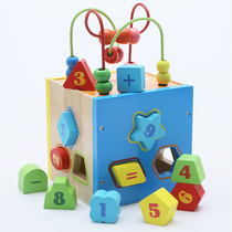 Children wooden geometry cognitive paired porous intelligence box 1-2-3 years old baby early education toys building blocks