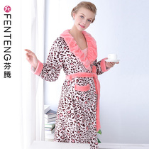Fen Teng autumn and winter coral velvet pajamas warm long section robe sexy Sling skirt Ladies Home service two-piece suit