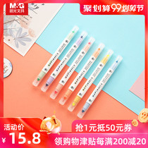 Morning light stationery masmarcu Shu eye pastel highlighter student key Mark note pen double headed 6 color AHMY7602