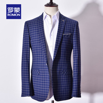 Romon Romon business casual mens suit fashion casual plaid suit coat middle-aged single Western tops