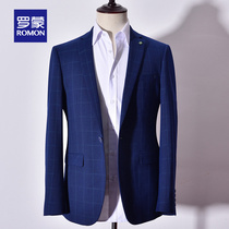 Roman Roman slim small suit 2019 New mens fashion trend British style blue plaid suit jacket