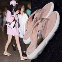 Flip-flops female wear 2019 new summer fashion shoes Wild net red ins tide thick bottom flat sandals