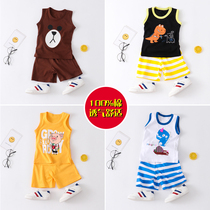 Children's vest suit cotton summer thin section boys and girls clothes summer children's clothing waistband baby sleeveless two-piece set tide