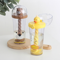 Shaking sound with the paragraph yellow duck Cup cute cartoon girl heart stirring Cup adult adult ins wind straw cup