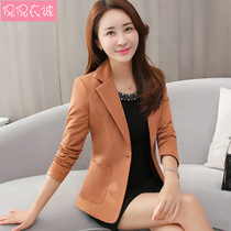 2019 spring new self-cultivation chic suit female long sleeve casual temperament Korean small suit jacket short paragraph shirt