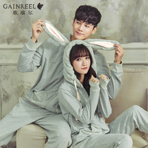 Gorrell cute cartoon couple long sleeved pajamas stylish comfortable mens and womens home wear set 18129HL
