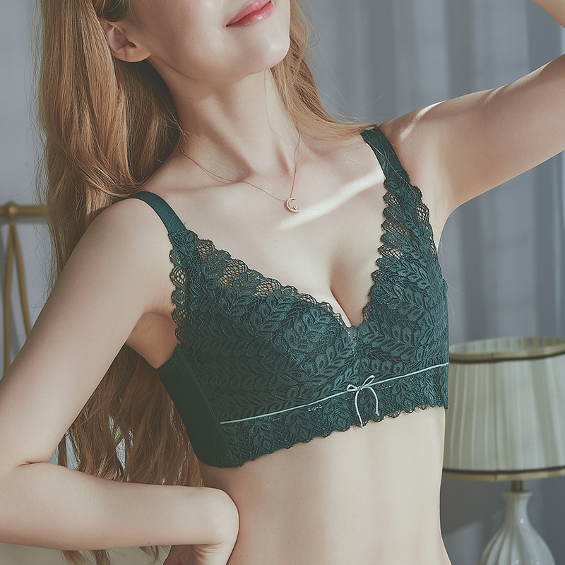 Underwear women adjusted breasts on the protection of sagging small breasts gathered ultra-thin no steel ring lace bra