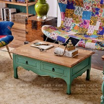 American country house luxury coffee table solid wood carved blue vintage make old rectangular coffee table with drawer.
