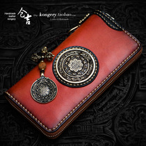 Cangji hand-made wallet mens and womens long zip-up bag youth original Chinese wind wallet vertical leather hand bag