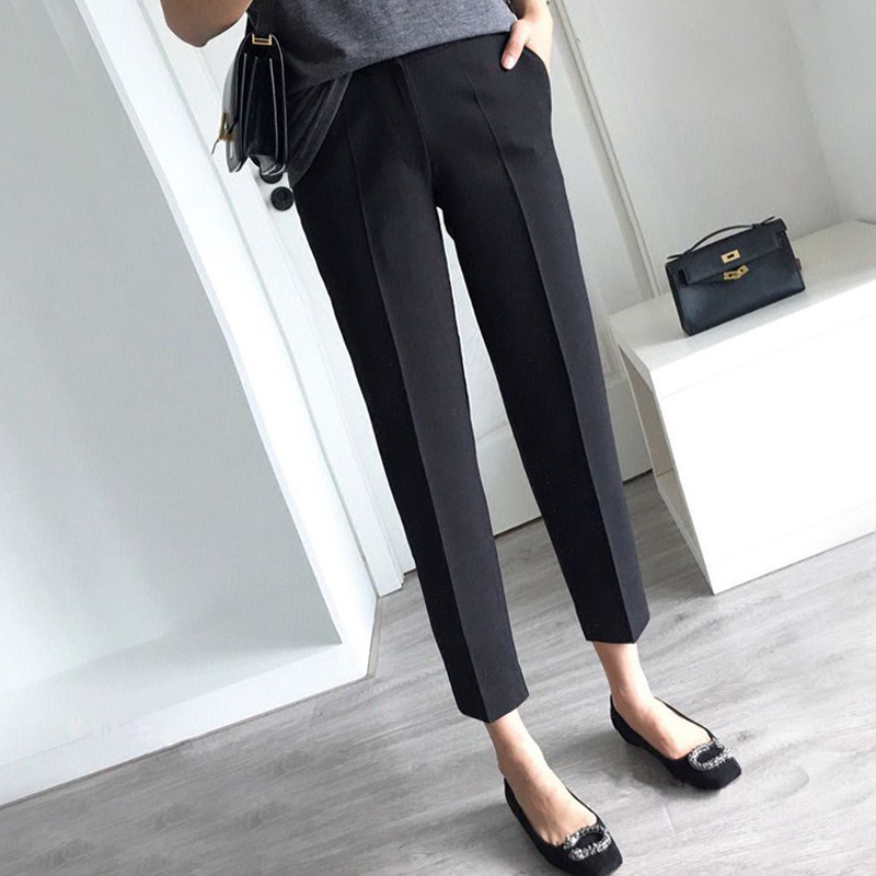 Harun pants women 2021 spring and autumn new thin nine-point suit pants casual sports small feet casual pants black long pants