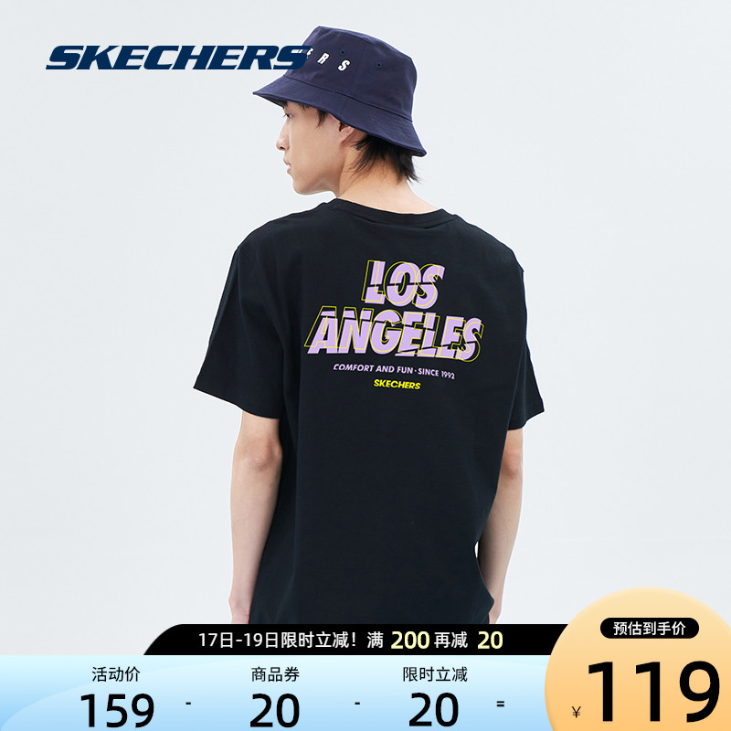 Skechers Skechs new mens multi-color base LOGO printed short-sleeved T-shirt in spring 2021