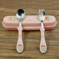 Set to eat spoon girl son girls girls to accept students pink environmental protection tableware fork children Bao 3-6 years old male