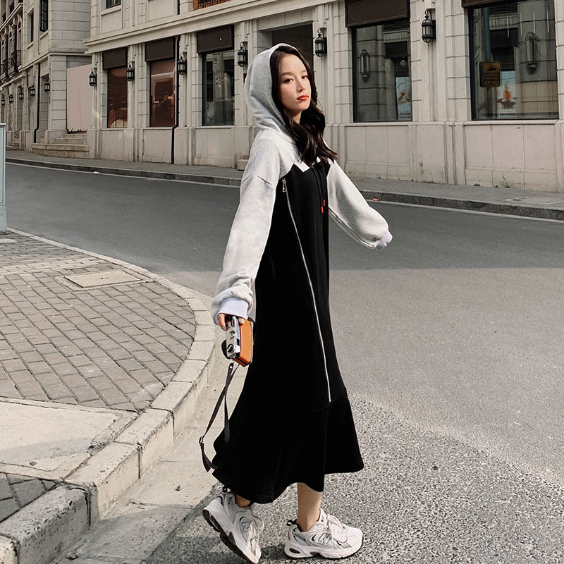 Wei dress womens slicing hat in the long loose lazy wind spring and autumn 2021 new loose fishtail long skirt