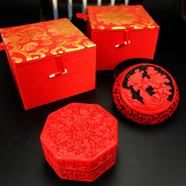 Carved lacquer craft lacquer jewelry box jewelry box lacquer carved mud box ladies wedding gifts abroad gifts.