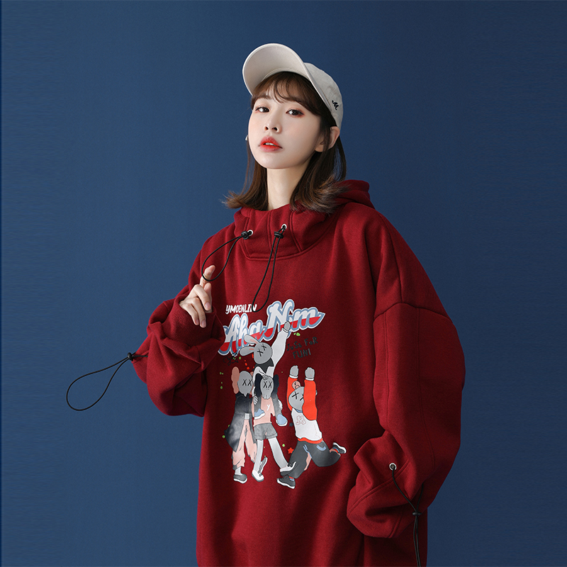 (Buy one give one) 2021 new female design sense small crowd thick plus velvet burst girl New Year red guard