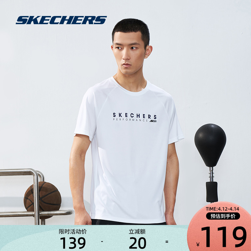 Skechers Skech mens solid-color sports training fitness round collar absorbing wet quick dry breathable casual short-sleeved T-shirt
