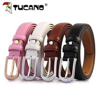 Ms. simple Korean version of the woodpecker belt womens leather belt thin casual set up fashion pin button jeans belt.
