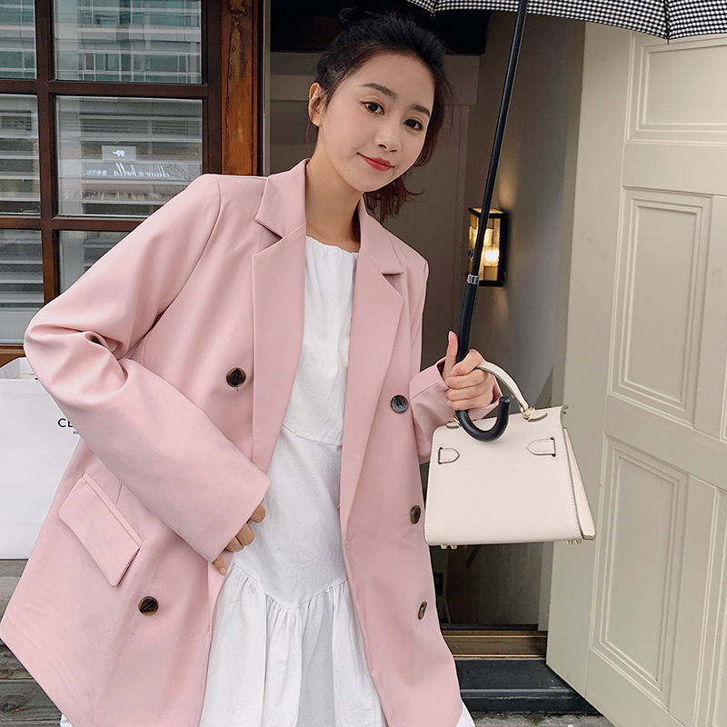Pink suit jacket women casual broad feeling spring and autumn 2021 new early spring bombing street age reduction loose-fitting small suit top
