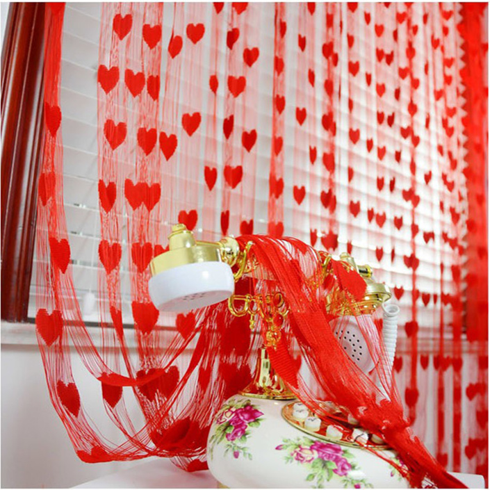 Wedding supplies Wedding curtain Red wedding room decoration arrangement Curtains doors peach heart-shaped love line curtain
