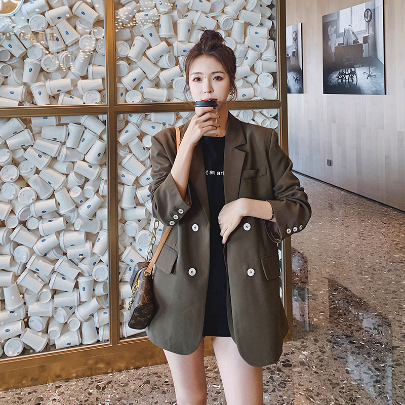 Curry suit jacket womens double-breasted small spring 2021 new early spring short 150 small suit top