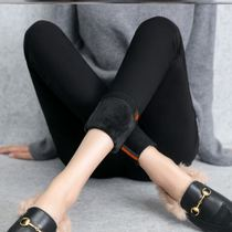 Autumn winter plus plus thick black jeans women high waist warm tight leggings outside wearing nine small feet pants.
