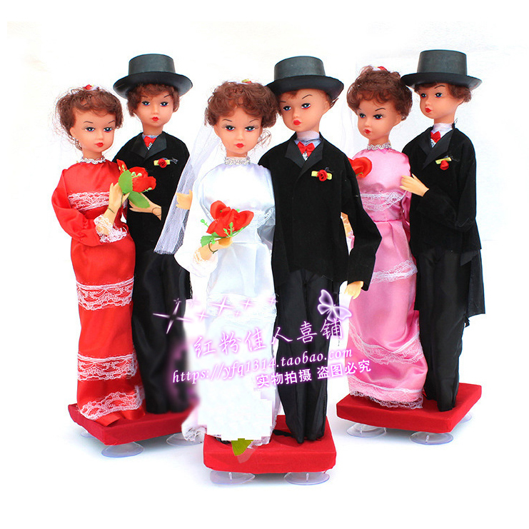 Wedding car decoration couple bear doll personality creative dress up wedding main wedding car head doll float arrangement supplies