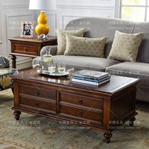 American country coffee table villa luxury large rectangular solid wood coffee table walnut wood four drawers.