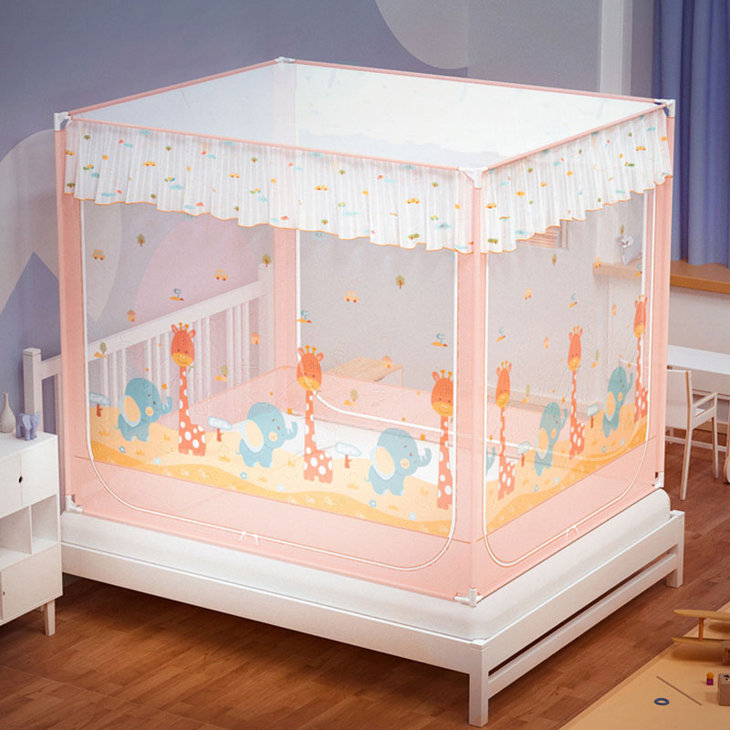 Mosquito net household support fixed anti-fall children 1.5 meters 1 .8m bed fully enclosed zipper-type thickened anti-mosquito