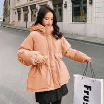 Orange down jacket womens middle-length draw rope waist small winter dress 2020 new white duck down mid-style jacket