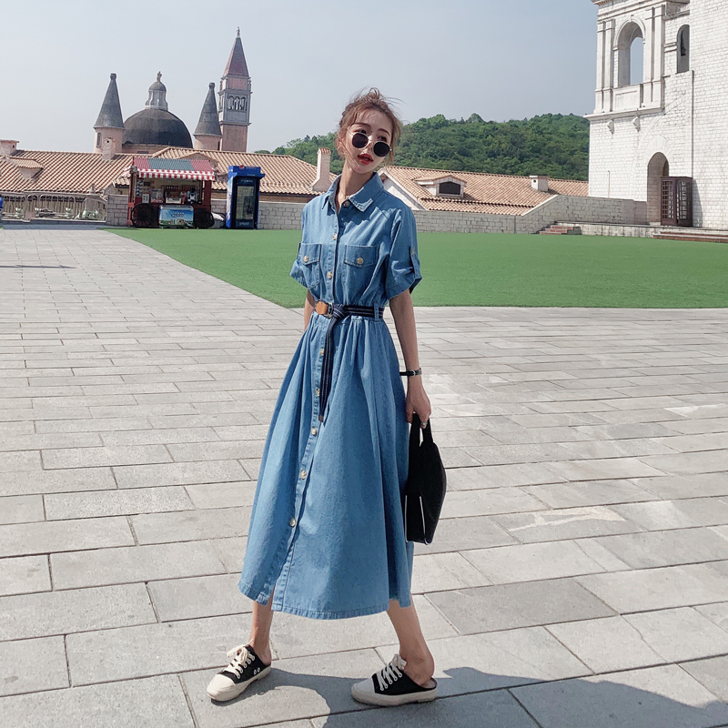 Denim dress womens summer high waist waist thin belt 2021 new temperament gentle wind royal sister shirt skirt