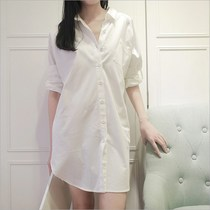 Spring summer white shirt girl lengthy sexy pajamas loose medium size boyfriend style shirt dress.