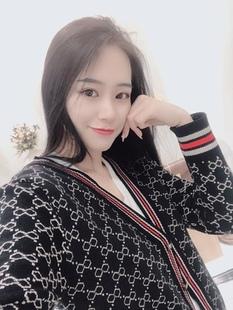 2019春秋季新款 韩版宽松V领长袖针织衫女开衫外套外搭毛衣服女装